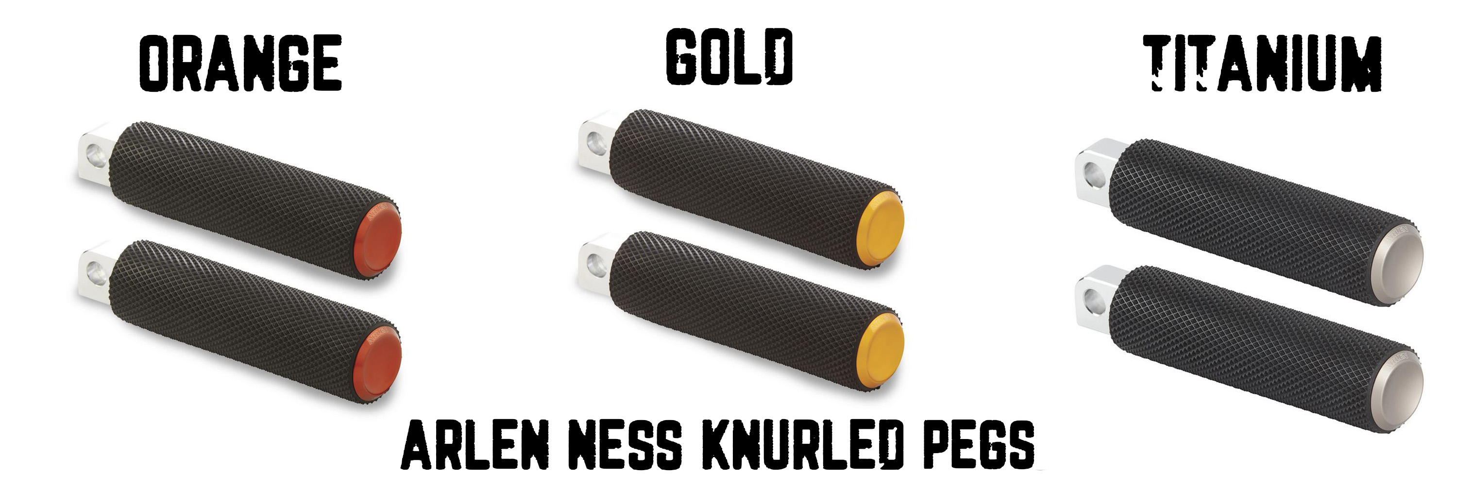 Arlen Ness Knurled Fusion Foot Pegs for Harley Models